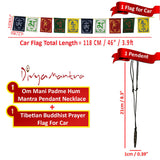 Divya Mantra Combo Of Om Mani Padme Hum Mantra Pendant Necklace and Tibetian Buddhist Prayer Flags For Car - Divya Mantra