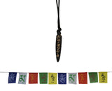 Divya Mantra Combo Of Om Mani Padme Hum Mantra Pendant Necklace and Tibetian Buddhist Prayer Flags For Motorbike - Divya Mantra