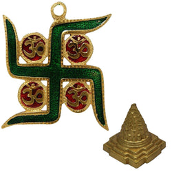 Divya Mantra Combo Of Meru Shree Yantra And Om Swastik Wall Hanging For Vastu - Divya Mantra