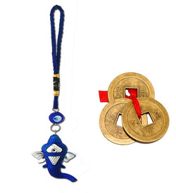 Divya Mantra Combo Of Ganesha Evil Eye Car / Wall Hanging with Three Chinese Coins - Divya Mantra