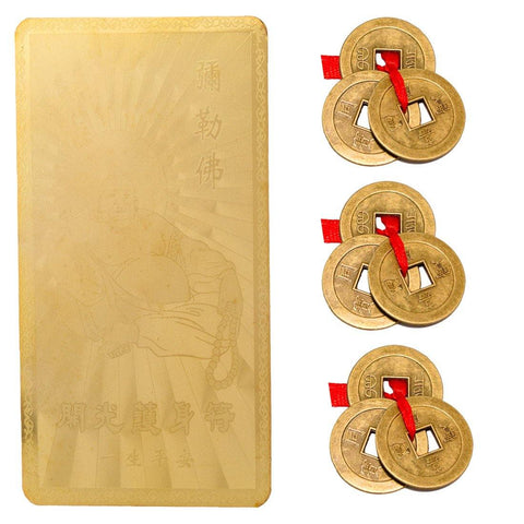 Divya Mantra Combo Of Feng Shui Buddha Good Luck Card Gold and Set Of Three Lucky Chinese Coins - Divya Mantra