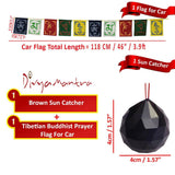 Divya Mantra Combo Of Brown Sun Catcher Hanging And Prayer Flag For Car - Divya Mantra