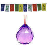 Divya Mantra Combo Of Purple Sun Catcher Hanging And Prayer Flag For Car - Divya Mantra
