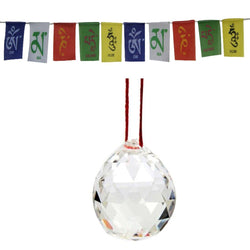 Divya Mantra Combo Of Crystal Sun Catcher Hanging And Prayer Flag For Car - Divya Mantra