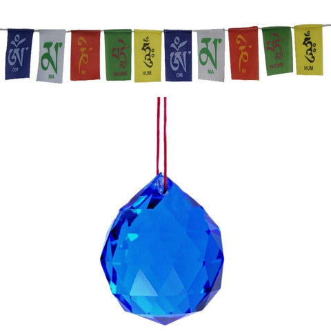 Divya Mantra Combo Of Blue Crystal Sun Catcher Hanging And Prayer Flag For Car - Divya Mantra
