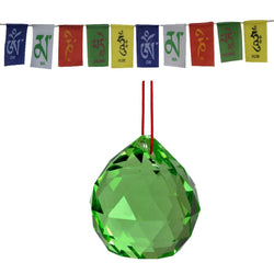 Divya Mantra Combo Of Green Crystal Sun Catcher Hanging And Prayer Flag For Car - Divya Mantra