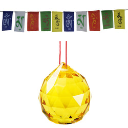 Divya Mantra Combo Of Yellow Crystal Sun Catcher Hanging And Prayer Flag For Car - Divya Mantra