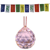 Divya Mantra Combo Of Pink Crystal Sun Catcher Hanging And Prayer Flag For Car - Divya Mantra