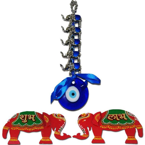 Divya Mantra Combo Of Elephant Blue Evil Eye and Shubh Labh Wall Hanging - Divya Mantra