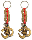 Divya Mantra Combo Of Two Om Ganesha with Three Feng Shui Coins Keychains - Divya Mantra