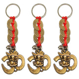 Divya Mantra Combo Of Three Om Ganesha with Three Feng Shui Coins Keychain - Divya Mantra