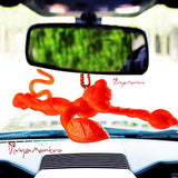 Divya Mantra Combo Of Two Orange Flying Hanuman Car Mirror Hangings Décor