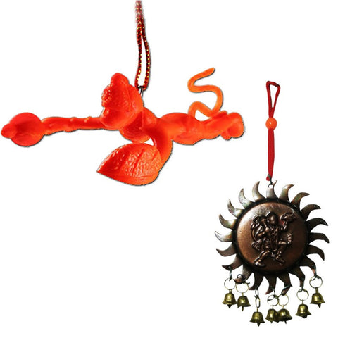 Divya Mantra Combo Of Orange Flying Hanuman and Vastu Hanuman Car Hanging - Divya Mantra