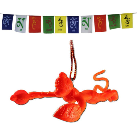 Divya Mantra Combo Of Orange Flying Hanuman Car Mirror Hanging and Tibetan Buddhist Prayer Flag For Motorbike - Divya Mantra