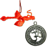 Divya Mantra Sri Om Aum Hindu Symbol Talisman Gift Pendant Amulet Decor Good Luck Charm Protection Interior Living Room / Decoration Showpiece & Sri Bajrang Bali Orange Flying Hanuman Car/Wall Hanging - Divya Mantra