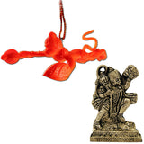 Divya Mantra Combo Of Orange Flying Hanuman Car Mirror Hanging and Gayatri Mantra Yantra Wall Hanging - Divya Mantra