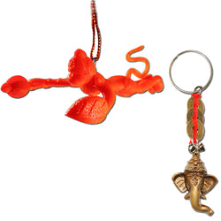 Divya Mantra Combo Of Orange Flying Hanuman Car Mirror Hanging and Lord Ganesha Three Lucky Coins Keychain - Divya Mantra