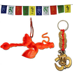 Divya Mantra Combo Of Tibetan Motorbike Prayer Flag With Flying Hanuman Car Mirror Hanging and Om Ganesha Coin Keychain - Divya Mantra