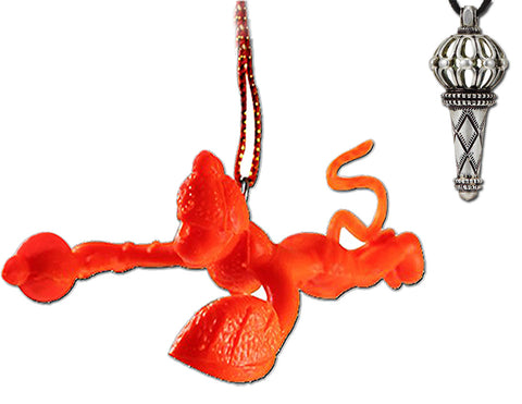 Divya Mantra Combo Of Orange Flying Hanuman Car Mirror Hanging and Lord Hanuman Gada Metallic Pendant - Divya Mantra