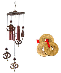 Divya Mantra Combo Of Om Rudraksh Wind Chime and Feng Shui Chinese Coins - Divya Mantra
