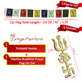 Divya Mantra Combo Of Trishakti Yantra Hanging and Tibetan Flag For Car - Divya Mantra