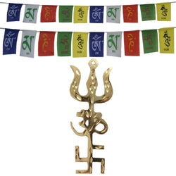 Divya Mantra Combo Of Trishakti Yantra Hanging and Tibetan Flag For Car and Motorbike - Divya Mantra