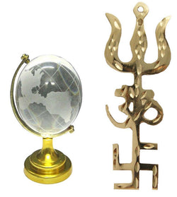 Divya Mantra Combo Of Feng Shui Globe and Trishakti Wall Hanging - Divya Mantra