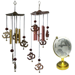 Divya Mantra Combo Of Feng Shui Globe and Two Feng Shui Om Rudraksh Wind Chime - Divya Mantra