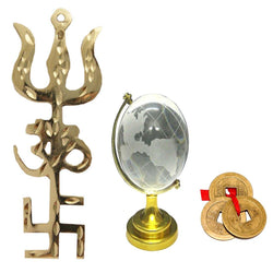 Divya Mantra Combo Of Feng Shui Globe and Trishakti Wall Hanging With Chinese Coins - Divya Mantra