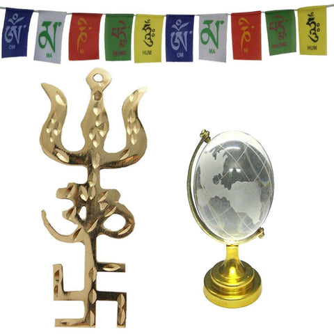 Divya Mantra Combo Of Feng Shui Globe and Trishakti Wall Hanging With Tibetan Mantra Flag For Motorbike - Divya Mantra