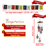 Divya Mantra Combo Of Tibetan Mantra Flag For Car and Feng Shui Om Rudraksha Wind Chime - Divya Mantra