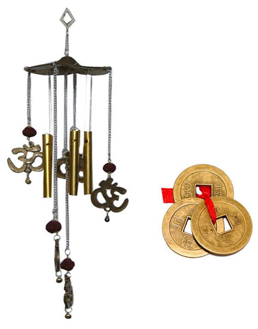 Divya Mantra Combo Of Feng Shui Om Rudraksha Wind Chime and Chinese Coins For Luck - Divya Mantra