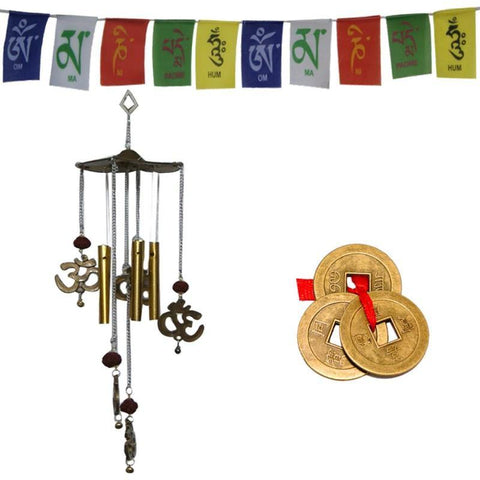 Divya Mantra Combo Of Feng Shui Om Rudraksha Wind Chime, Tibetan Mantra Flag For Motorbike and Chinese Coins For Luck - Divya Mantra