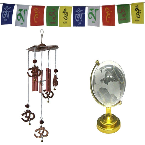 Divya Mantra Combo Of Feng Shui Om Rudraksha Wind Chime, Tibetan Mantra Flag For Motorbike and Feng Shui Globe - Divya Mantra