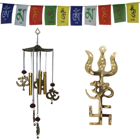 Divya Mantra Combo Of Trishakti Yantra Hanging and Feng Shui Om Rudraksha Wind Chime and Tibetan Mantra Flag For Motorbike - Divya Mantra