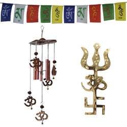 Divya Mantra Combo Of Trishakti Yantra Hanging, Feng Shui Om Rudraksha Wind Chime and Tibetan Mantra Flag For Motorbike - Divya Mantra