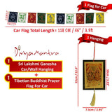 Divya Mantra Combo Of Laxmi Ganesha Car Decoration Rear View Mirror Hanging Accessories And Prayer Flag For Car - Divya Mantra