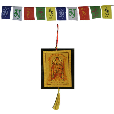 Divya Mantra Combo Of Tirupati Balaji Car Decoration Rear View Mirror Hanging Accessories And Prayer Flag For Car - Divya Mantra