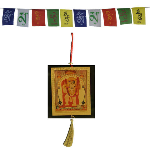 Divya Mantra Combo Of Shiva Parvati Ganesha Car Decoration Rear View Mirror Hanging Accessories And Prayer Flag For Car - Divya Mantra