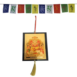 Divya Mantra Combo Of Lord Bramha Car Decoration Rear View Mirror Hanging Accessories And Prayer Flag For Car - Divya Mantra