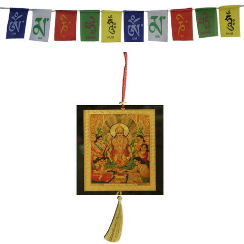 Divya Mantra Combo Of Lord Vishnu Car Decoration Rear View Mirror Hanging Accessories And Prayer Flag For Car - Divya Mantra