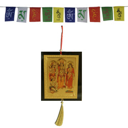 Divya Mantra Combo Of Ram Darbar Car Decoration Rear View Mirror Hanging Accessories And Prayer Flag For Car - Divya Mantra