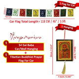 Divya Mantra Combo Of Sai Baba Car Decoration Rear View Mirror Hanging Accessories And Prayer Flag For Car - Divya Mantra
