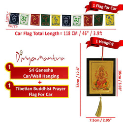 Divya Mantra Combo Of Ganesha Car Decoration Rear View Mirror Hanging Accessories And Prayer Flag For Car - Divya Mantra