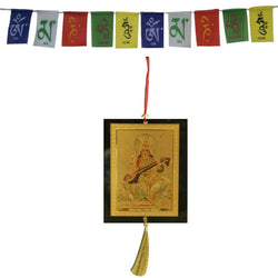Divya Mantra Combo Of Saraswati Car Decoration Rear View Mirror Hanging Accessories And Prayer Flag For Car - Divya Mantra