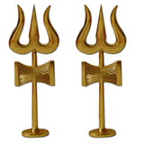 Divya Mantra Traditional Trishul (Trident) Damru with Stand Brass Statue Combo For Car Dashboard / Puja Ghar - Divya Mantra