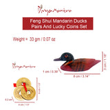 Divya Mantra Feng Shui Wooden Pair Of Mandarin Ducks For Love Luck and Three Chinese Coins For Luck - Divya Mantra