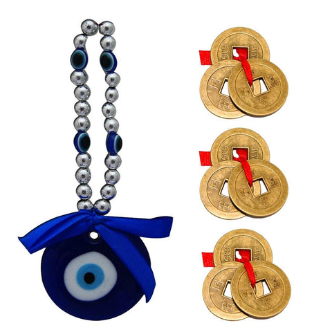 Divya Mantra Car Decoration Rear View Mirror Hanging Accessories Evil Eye Amulet and Three Chinese Coins Combo of 3 Set For Luck - Divya Mantra