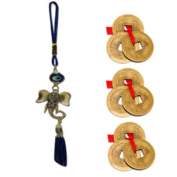 Divya Mantra Car Decoration Rear View Mirror Hanging Accessories Evil Eye Ganesha Head and Three Chinese Coins Combo of 3 Set For Luck - Divya Mantra
