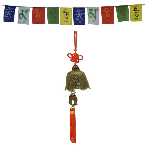 Divya Mantra Car Decoration Rear View Mirror Hanging Accessories Tibetan Feng Shui Bell and and Tibetan Buddhist Prayer Flags for Car